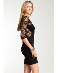 Bebe Black Lace Inset 34 Sleeve Bodycon Dress