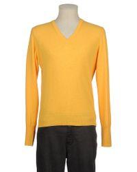 Drumohr - Yellow V-neck for Men - Lyst