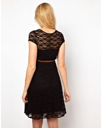 ASOS Black Lace Skater Dress with Belt