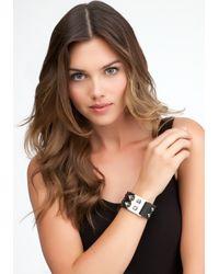 Bebe - Black Leather Spike Bracelet - Lyst