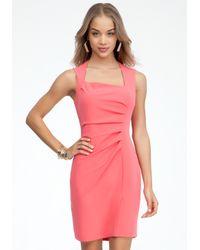 Bebe - Pink Crepe Pleated Asymmetric Dress - Lyst