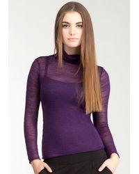 Bebe | Purple Sheer High Neck Sweater | Lyst