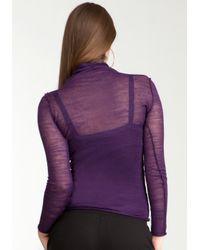 Bebe - Purple Sheer High Neck Sweater - Lyst