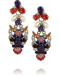 Erickson Beamon | Blue Tribal Patchwork Palladiumplated Swarovski Crystal Earrings | Lyst