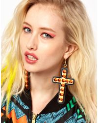Sam Ubhi - Orange Funky Bling Oversized Cross Earrings - Lyst
