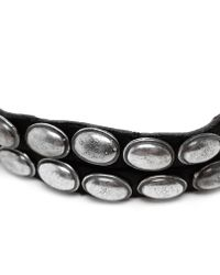 Goti Metallic Leather And Aged Silver Bracelet for men