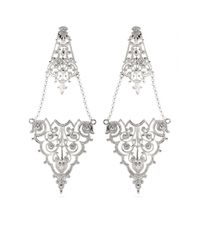 Iam By Ileana Makri | Metallic Chantilly Lace Chandelier Earrings | Lyst