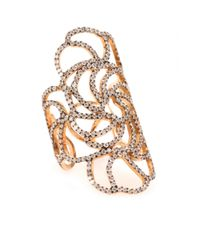 Ileana Makri - Metallic 18kt Rose Gold Lace Ring With Brown Diamonds - Lyst