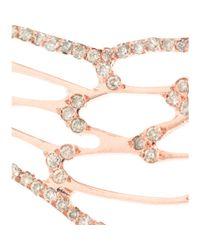 Ileana Makri 18kt Pink Gold Angel Wing Earrings with Brown Diamonds