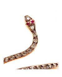 Ileana Makri Pink 18kt Rose Gold Single Python Ring with Rubies and Champagne Diamonds