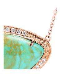 Jacquie Aiche - Green 14kt Rose Gold Partial White Diamond Long Teardrop Chrysoprase Bezel Necklace - Lyst