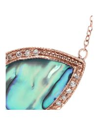 Jacquie Aiche - Metallic 14kt Rose Gold Partial White Diamond Small Teardrop Abalone Shell Bezel Necklace - Lyst
