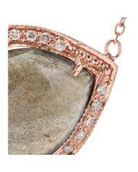 Jacquie Aiche - 14kt Rose Gold Partial White Diamond Small Teardrop Labradorite Bezel Necklace - Lyst