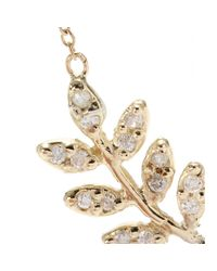 Jacquie Aiche - 14kt Yellow Gold Large Leaf Pendant Necklace with White Diamonds - Lyst