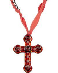 Lanvin - Metallic Swarovski Crystal and Glass Cross Necklace - Lyst