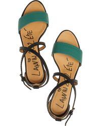 Lanvin - Black Two-tone Leather Sandals - Lyst