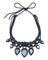 Lanvin Blue Crystal and Cord Necklace