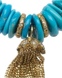 Loree Rodkin - Blue Diamond Tassel and Raw Turquoise Bead Bracelet - Lyst
