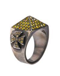 Loree Rodkin - Metallic Pavé Pyramid Ring With Maltese Crosses - Lyst