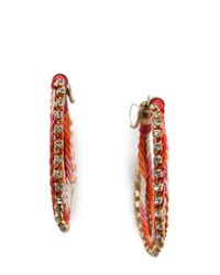 Mango - Pink Woven Hoop Earrings - Lyst