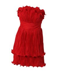 Notte by Marchesa | Red Strapless Plisse Taffeta Dress | Lyst