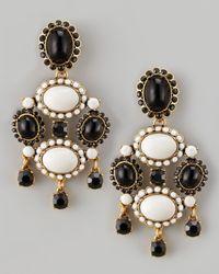 Oscar de la Renta - White Cabochon Drop Clip Earrings - Lyst