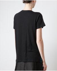 Proenza Schouler Blue Splattered Printed Silk-Cotton T-Shirt