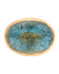 Ram Blue 22k Gold Ring With Aquamarine Stone