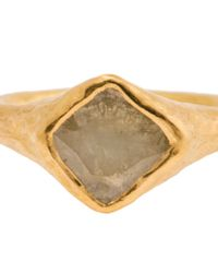 Ram Yellow 22k Gold Ring with Flat Diamond