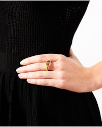 Ram | Metallic 22k Gold Ring with Large Diamond | Lyst