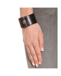 Reed Krakoff Black T Bar Oval Leather Cuff