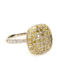 Roberto Marroni | 18kt Yellow Gold Ring With Yellow Ice And White Diamonds | Lyst