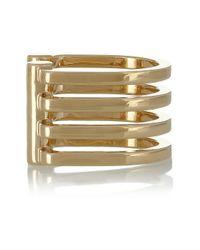 Saint Laurent Metallic Antiope Polished Goldtone Cuff