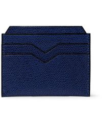 Valextra Blue Leather Card Holder for men