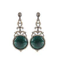 Bochic - Green Emerald and Diamond Drop Earrings - Lyst