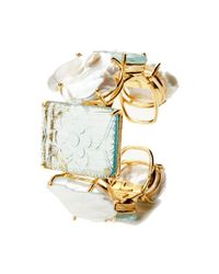 Bounkit - Metallic Carved Aquamarine and Pearl Cuff - Lyst