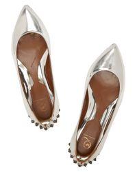 McQ Studded Metallic Leather Ballet Flats