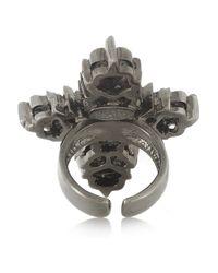 Roberto Cavalli Green Palladiumplated Swarovski Crystal and Hematite Cross Ring