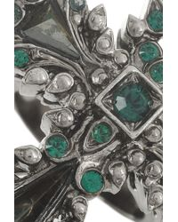 Roberto Cavalli | Green Palladiumplated Swarovski Crystal and Hematite Cross Ring | Lyst