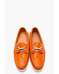 Thom Browne | Orange Leather Wingtip Deck Shoes for Men | Lyst