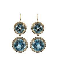 Andrea Fohrman - Round London Blue Topaz and Champagne Diamond Earrings - Lyst