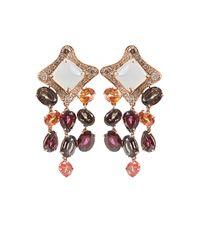 Antonini | Orange Moonstone Sapphire Rhodolite Quartz and Diamond Earrings | Lyst