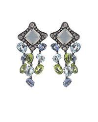 Antonini Blue Moonstone Sapphire Aquamarine Peridot and Diamond Earrings