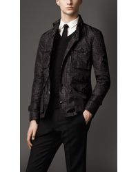 Burberry Black Geometric Print Nylon Field Jacket for men