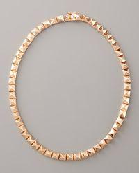 Eddie Borgo | Metallic Pave Pyramid Choker Necklace, Rose Gold | Lyst
