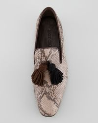 Jimmy Choo - Brown Foxley Python Tassel Loafer for Men - Lyst