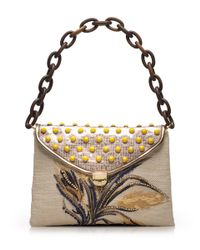 Tory Burch Multicolor Maddie Wheat Embroidered Shoulder Bag