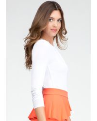 Bebe White Pleated Knit Bodysuit