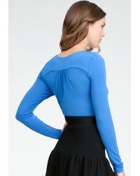 Bebe Blue Pleated Knit Bodysuit