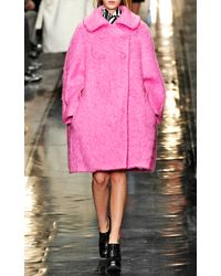 Carven | Mohair Worsted Wool Oversize Coat in Cotton Candy Pink | Lyst